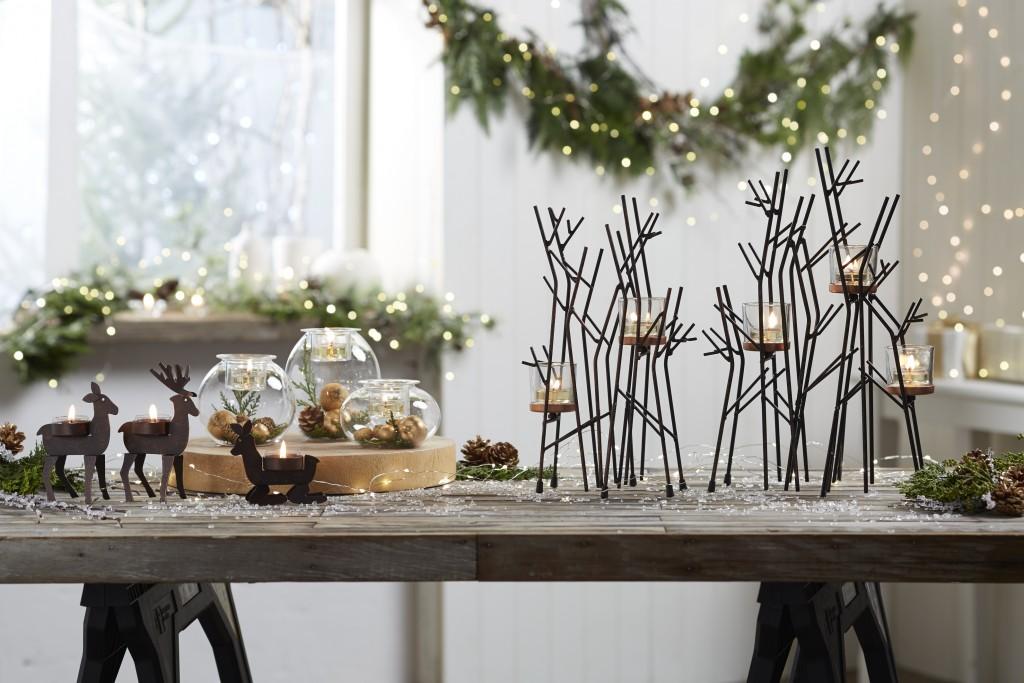 Centre de table Forêt Enchantée, Trio porte-bougies Famille de Rennes©PartyLite